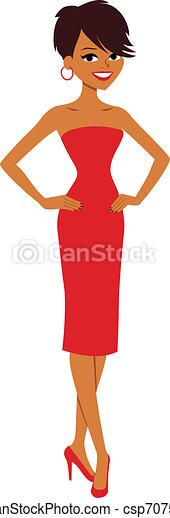 belle femme, dessin animé - csp7075512