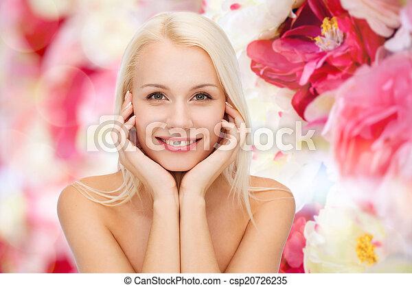 belle femme, elle, figure, toucher, peau - csp20726235