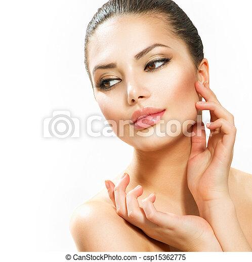 belle femme, elle, jeune, figure, toucher - csp15362775
