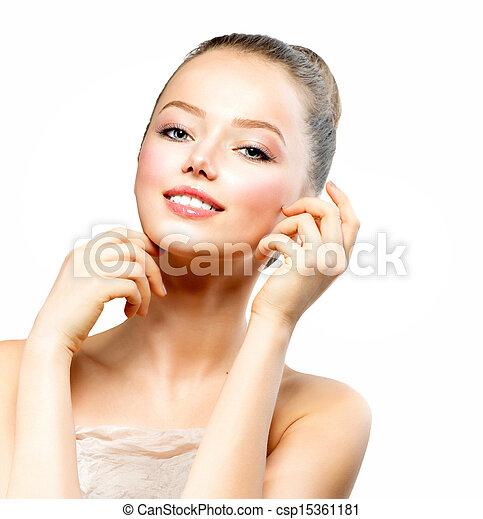belle femme, elle, jeune, figure, toucher, propre, peau, frais - csp15361181