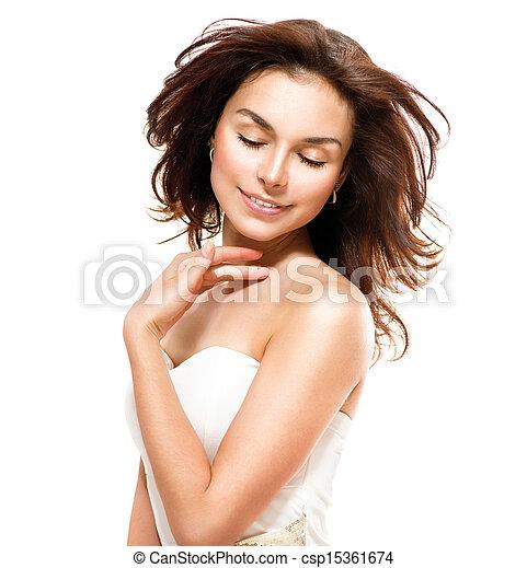 belle femme, elle, sur, jeune, skin., toucher, portrait, blanc - csp15361674