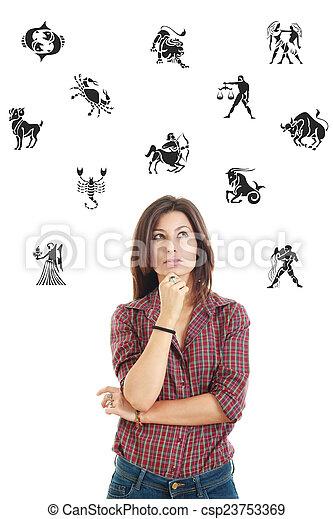 belle femme, entouré, lookin, signes, pensivement, zodiaque - csp23753369