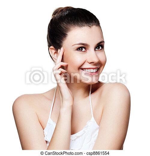 belle femme, joli, face., jeune, femme, poser, fond, peau, propre, blanc - csp8861554