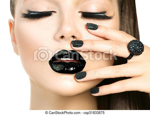 belle femme, mèches, maquillage, long, mode, top model noire - csp31833875