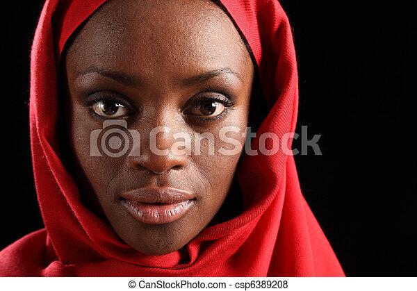 Le célèbre Belle femme, noir, headshot, africaine, hijab. Beau, porter, femme @DX_47