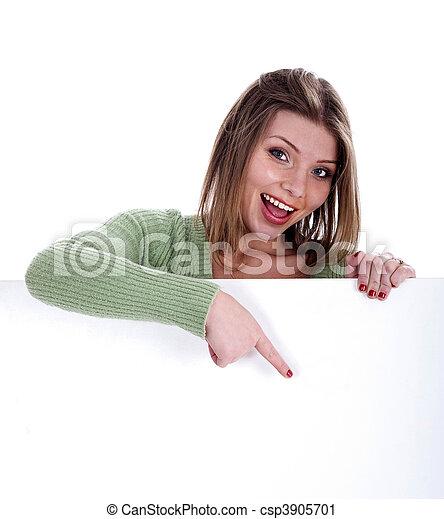belle femme, pointage, planche, vide, blanc dehors, heureux - csp3905701