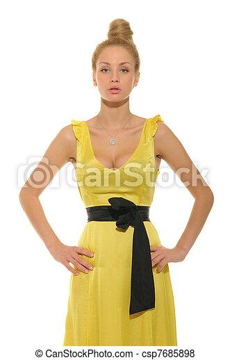 Étonnant Belle femme, robe, jaune. Belle femme, isolé, jaune, robe blanche. BS-82