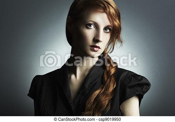 belle femme, roux, photo, jeune, mode - csp9019950