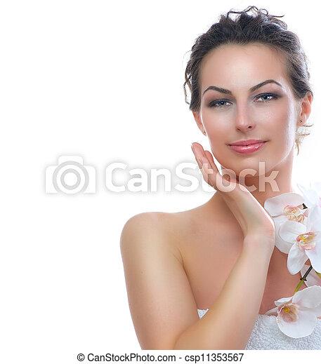 belle femme, sain, jeune, skin., frais, spa - csp11353567