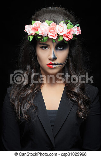 belle femme squelette maquillage beau skeleton femme image de stock recherchez. Black Bedroom Furniture Sets. Home Design Ideas