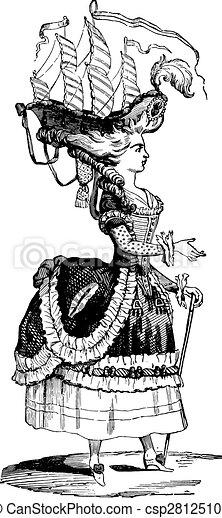 belle, penteado, poule, vindima, engraving. - csp28125107