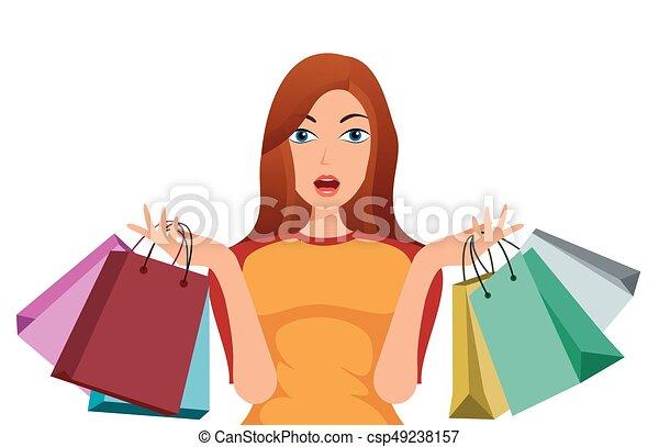 Belle ragazze shopping cartone animato bello shopping