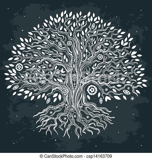 belle vie, vendange, arbre, main, dessiné - csp14163709