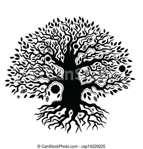 belle vie, vendange, arbre, main, dessiné - csp14229225