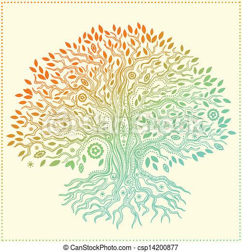 belle vie, vendange, arbre, main, dessiné - csp14200877