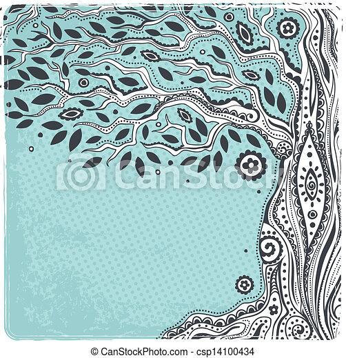 belle vie, vendange, arbre, main, dessiné - csp14100434