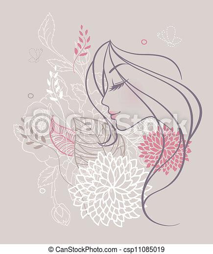 bellezza, floreale, donna - csp11085019