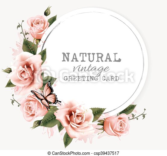bellezza, natura, vendemmia, augurio, vector., fiori, scheda, butterfly. - csp39437517