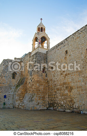 Bellfry of the Church of the Nativity in Bethlehem - csp8088216