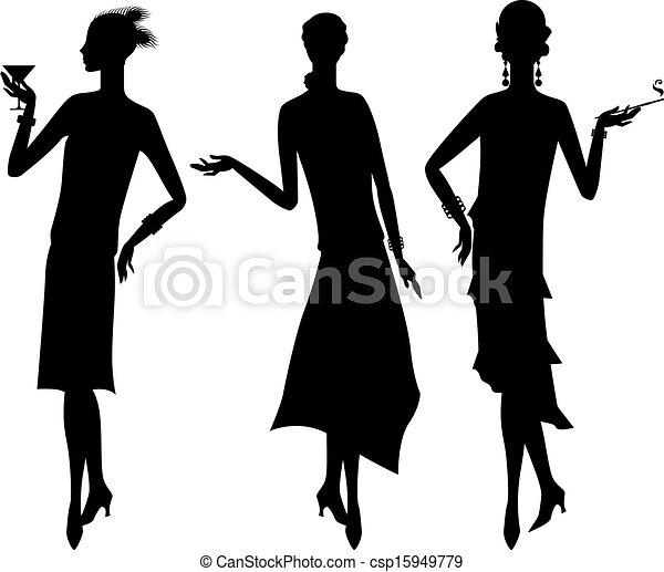 bello, 1920s, silhouette, ragazza, style. - csp15949779