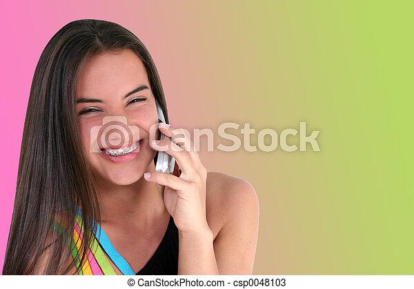 bello, adolescente, cellphone - csp0048103