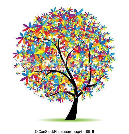 bello, albero, disegno, arte, tuo - csp4118819