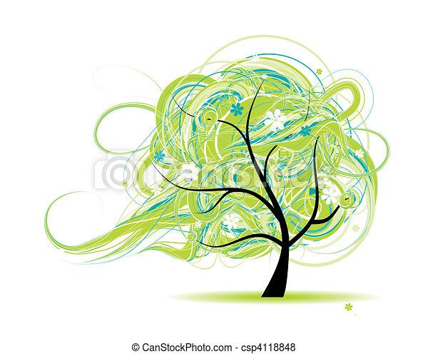 bello, albero, disegno, arte, tuo - csp4118848
