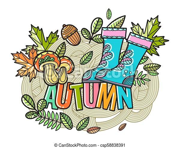 bello, autunno, vettore, composizione - csp58838391