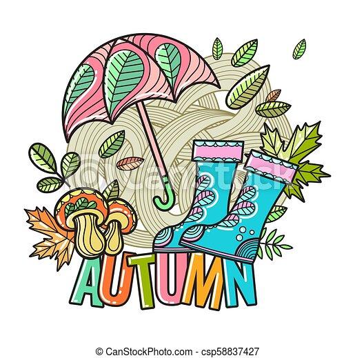 bello, autunno, vettore, composizione - csp58837427