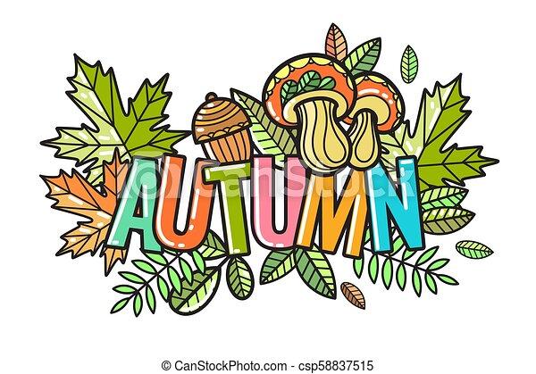 bello, autunno, vettore, composizione - csp58837515