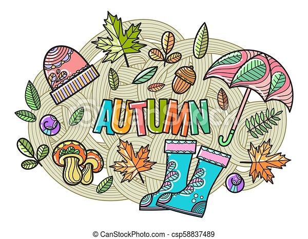 bello, autunno, vettore, composizione - csp58837489