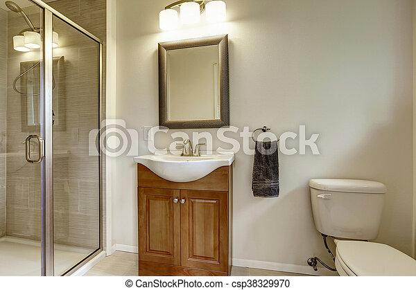 Bello, bagno, moderno, grigio, lavandino, interno, nuovo. Bello ...