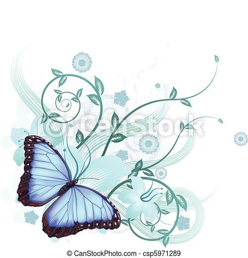 bello, blu, farfalla, fondo - csp5971289