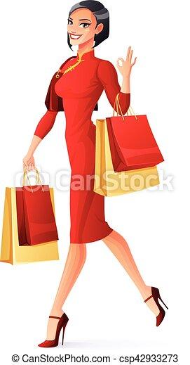 9a9797b5ce1d bello, borse, camminare, shopping donna, cinese, esposizione, vettore, ok