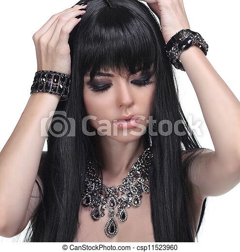 bello, brunetta, gioielleria, sano, foto, hair., lungo, girl., moda, beauty. - csp11523960