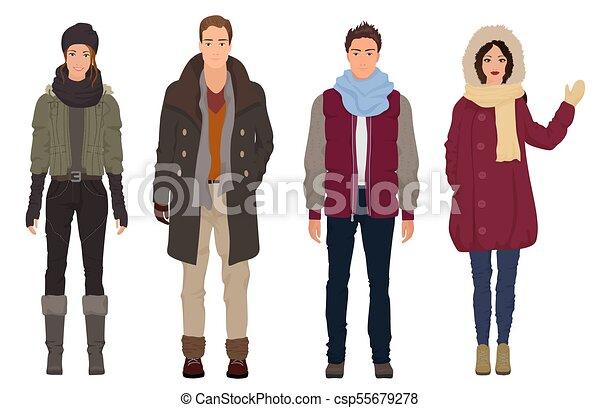 e0929050d389 Bello, Couples., Inverno, Persone, Modelli, Riscaldare, Moderno, Ragazze,  Giovane, Isolated., Moda,