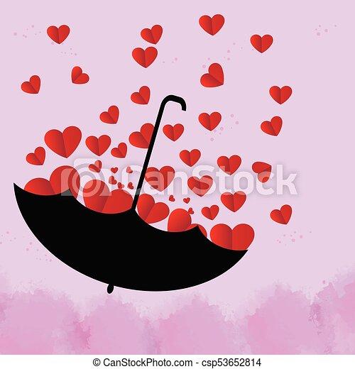 Bello Cuore Ombrello Rosa Sfondo Nero Rosso Illustrazione