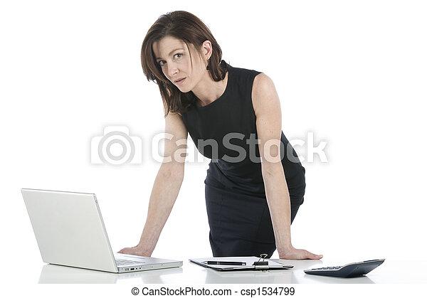 bello, donna d'affari, lei, ufficio - csp1534799