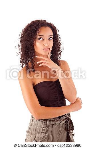bello, donna pensante, africano - csp12333990