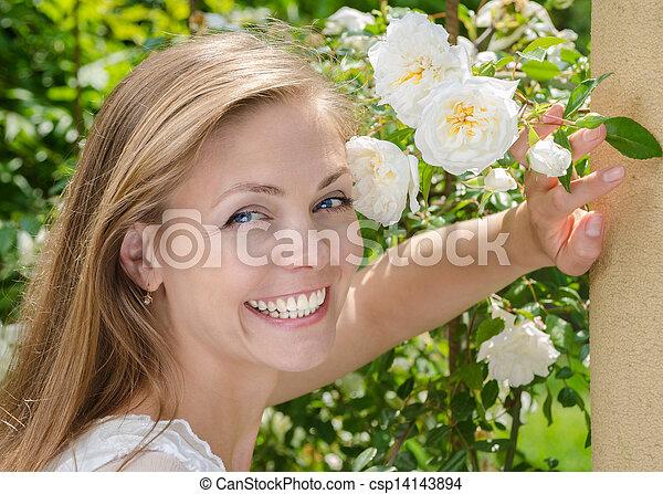bello, donna sana, sorriso, denti - csp14143894