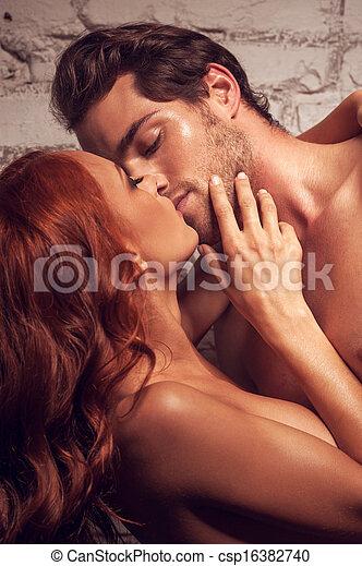 bello, essendo, nudo, sex., detenere, altro, ciascuno, baciare, coppia - csp16382740