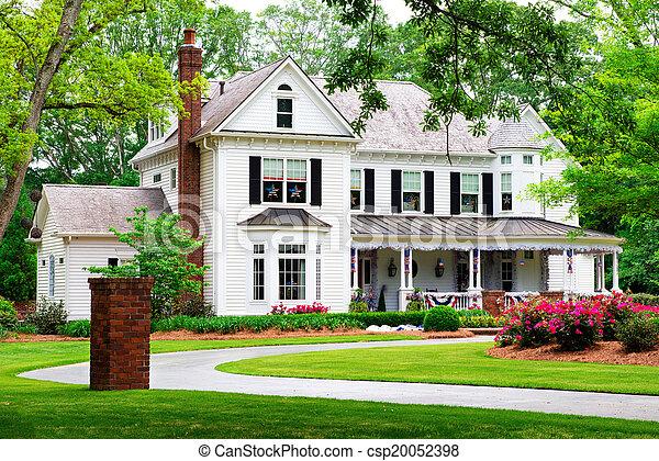 bello, georgia, tradizionale, marietta, casa, storico - csp20052398