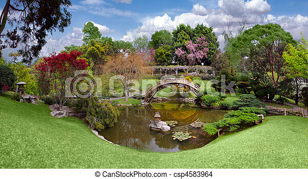 bello, giardino, californ, biblioteca, huntington, botanico - csp4583964