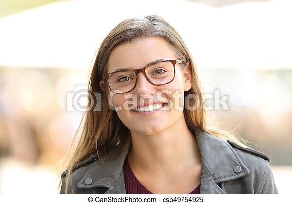 in vendita 55220 08151 bello, il portare, ragazza, occhiali, ritratto