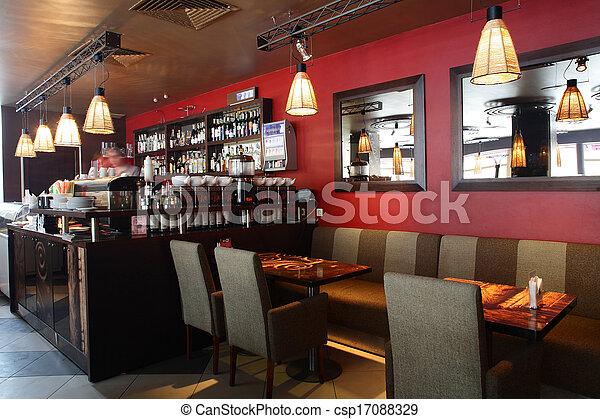 bello, interno, moderno, ristorante - csp17088329