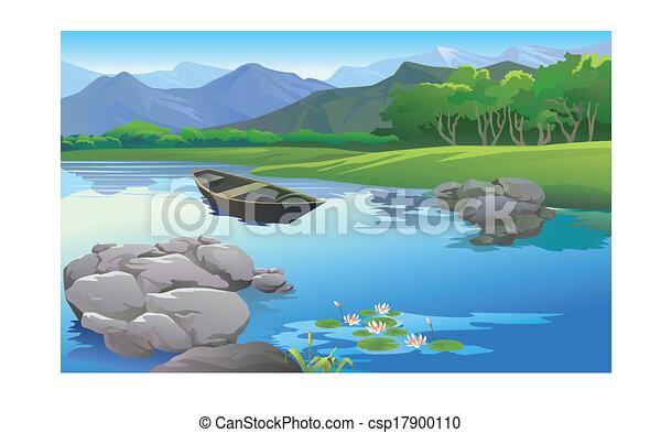 Bello lago paesaggio cartone animato for Lago disegno