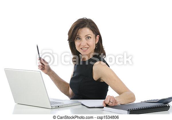 bello, lei, ufficio, donna d'affari, pc, qualcosa, indicare - csp1534806