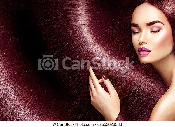 bello, marrone, donna, bellezza, diritto, capelli lunghi, brunetta, fondo, hair. - csp53623586