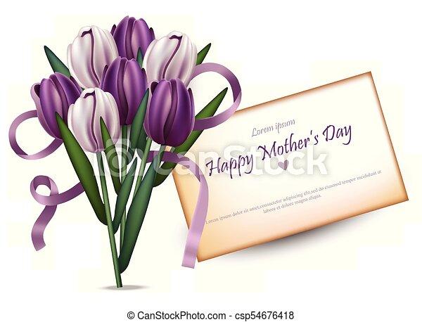 bello, mazzolino, tulips, sfondi, vector., donne, giorno, scheda, felice - csp54676418