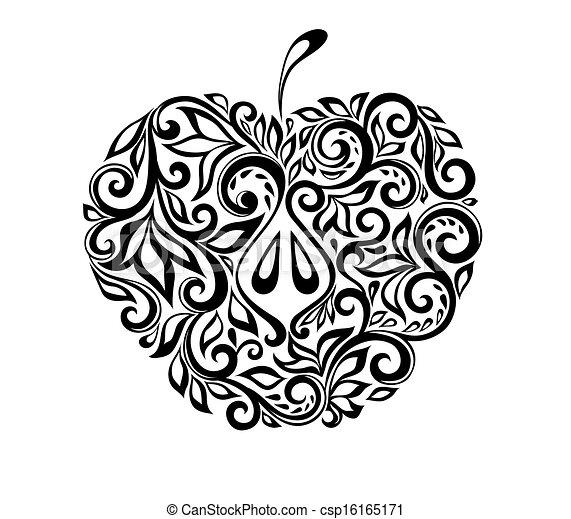 bello, mela, pattern., nero, floreale, bianco, decorato - csp16165171